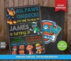 SALE 80% OFF Paw Patrol Invitation Paw Patrol by CLPrintable