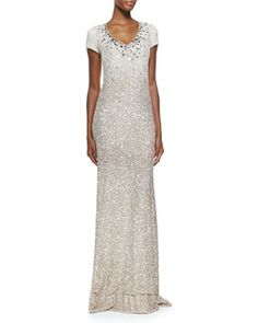 T923X Pamella Roland Cap-Sleeve Signature Sequin Gown