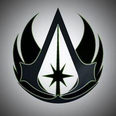 Jedi Assassins Creed Logo Tatouage Assassins Creed, Assassins Creed Tattoo, Assassins Creed Game, Assassins Creed Odyssey, Star Wars Clone Wars, Star Wars Art, Jedi Symbol, Destiny Fallen, Los Mejores Tattoos