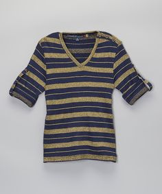 Look at this Indigo & Gold Sparkle Top - Girls on #zulily today!