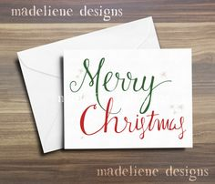 Merry Christmas Card  Christmas Card Set by MadelieneDesigns