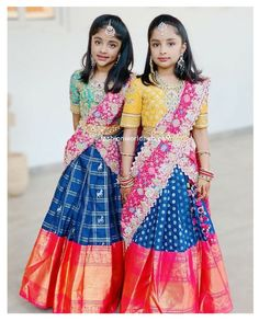 Half Saree Designs, Silk Saree Blouse Designs, Fancy Blouse Designs, Lehenga Designs, Party Wear Frocks, Kids Party Wear Dresses, Kids Dress Wear, Baby Dress, Gowns For Girls