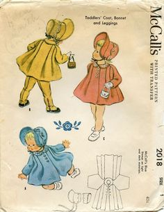 Vintage 1955 Girl's Coat Leggings Bonnet McCall Pattern 2018 Size 1