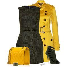 Tweed Dress and Yellow Trench, created by angkclaxton on Polyvore