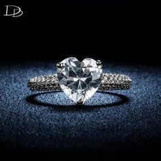 big heart stone 3 carat crystal jewelry engagement wedding rings for women