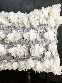 White Grey Fringe Tassel Moroccan wedding Blanket Inspired Pillow | Boho Pillow | Handira Woven | Fringe | Coins | African Anthropologie DIY by TaisaSilecky