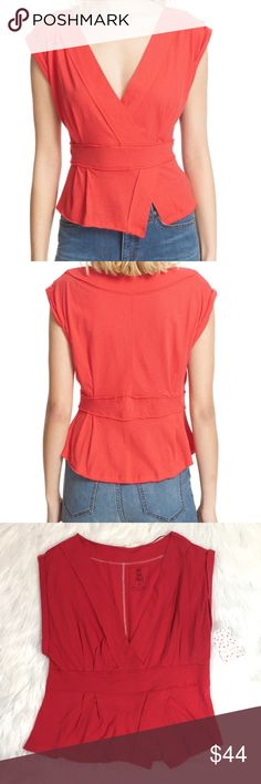 """Free People NWT Hemingway tee in tulip size M Darling we the Free deep v tee, sold out online.  New Hemingway tee in tulip.  Approximate flat lay measurements: armpit to armpit 18.5"""", shoulder to hem 22"""" Free People Tops"""