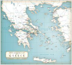 Mythological map of Greece