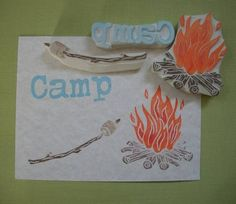 Campfire Stamp Set by EnchantingStamps on Etsy, $34.00