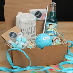 Surprise Ball Goody Box - Goody Blue Box - Send A Gift // Thank You Gift // Birthday Gift // Congratulations Gift // Get Well Gift // Smile by ConfettiGiftCompany on Etsy