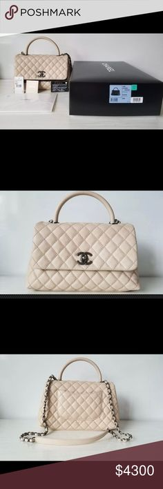 f323c5b5a1c6 Chanel coco handle classic flap caviar beige bag Authentic Chanel coco  handle caviar beige in like