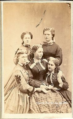 This CDV photograph of a mother and her four daughters from the Civil War era, reminds me of one of my favorite books, Little Women by Louisa May Alcott.  The mother and three of the girls have unusual hair decorations.  This photograph, although it is a little scratched up, is a   real treasure and sadly has no identifying marks such as names or location.