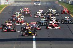Start of an F1 race. Enthralling