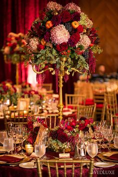 Wedding Table Decorations - Creating the Wow For Your Wedding Table - Put the Ring on It Burgundy Wedding, Autumn Wedding, Red Wedding, Christmas Wedding, Wedding Flowers, Baroque Wedding, Wedding Stage, Glamorous Wedding, Bouquet Wedding