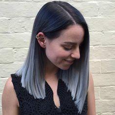 Silver Gray Ombre Mid Length Bob Haircut