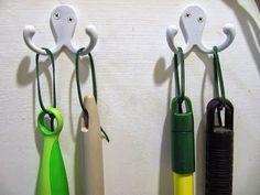 zip ties handles to hang brooms etc
