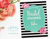 Bridal Shower Invitation, Floral Black & White Stripe Bridal Shower Invite, Floral Bridal Shower, Gold Glitter, DIY Printable