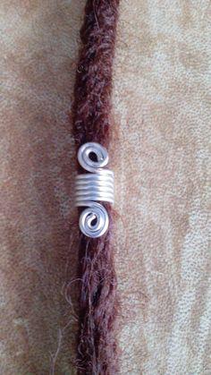 Silver coil dread bead. Dreadlock bead. Hair by Miasdreadlockbeads