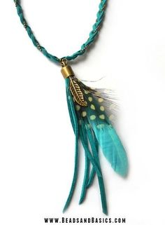 Boho Feather Necklace -  Blue, Bronze, Suede, Beads, Self made -     Make your own with the materials and DIY Tutorials from http://www.beadsandbasics.com/en/boho-feathers-necklace.html
