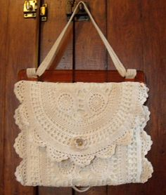 Vintage Crocheted Table Runner Becomes A  Lace Bag / Purse / Upcycled Linen & Lace Purse on Etsy, $42.47