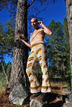 Crochet Rainbows Wide Leg Pants XL