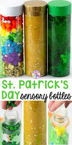 Patrick's Day Sensory Bottles – Pocket of Preschool St. Patrick's Day sensory bottles (gold coins, clovers, and rainbow letters) to help students calm down, observe (science), and learn letters. Sensory Bins, Sensory Activities, Activities For Kids, Sensory Play, Sensory Rooms, Sensory Boards, Indoor Activities, St Patricks Day Crafts For Kids, St Patrick's Day Crafts