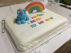 Coworker Farewell Cake - Unicorn - You're Dead to Us Now Co Worker Leaving, Goodbye Cake, Goodbye Party, Going Away Cakes, Farewell Cake, Going Away Parties, Retirement Cakes, Funny Cake, Work Humor