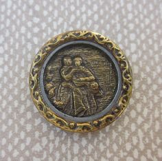 Metal Picture Button.  Lucy and Edgar Picture Button. Lover's Button  Couples Button OneWomanRepurposed B 22 by OneWomanRepurposed on Etsy