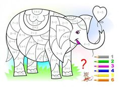 Educational page with exercises for children on addition and subtraction. Need to solve examples and to paint the elephant in relevant colors. Developing skills for counting. Subtraction Worksheets, 1st Grade Worksheets, Preschool Assessment, Math Pages, Math Anchor Charts, Math Art, Illustration, Math For Kids, Exercise For Kids