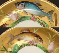 """Antique Minton 9"""" Cabinet Plate, Gold with Hand Painted Fish, Flowers from antiques-uncommon-treasure on Ruby Lane"""