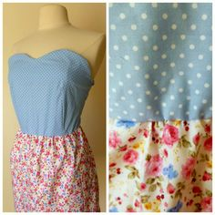 Floral sweetheart dress ditsy print polka dot strapless cotton dress s,m £29.00