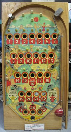 50s vintage Pinball Machine playfield wall hanging by WearLords, $265.00