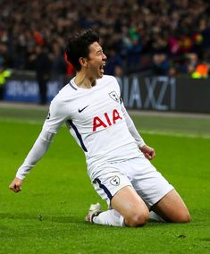 Heung-Min Son of Tottenham Hotspur celebrates after scoring his team's first goal during the UEFA Champions League Round of 16 Second Leg match between Tottenham Hotspur and Juventus at Wembley Stadium on March 2018 in London, United Kingdom. - 68 of 209 Good Soccer Players, Football Players, Tottenham Hotspur Wallpaper, Korea Soccer, Tottenham Hotspur Players, North London, London United, Soccer World, Sports Stars