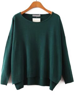 Round Neck Dip Hem Royal Green Sweater.  -SheIn