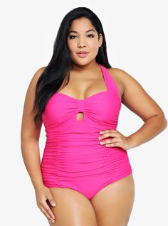 8d27cecde1893 A Torrid pink one piece with a retro feel.  CD Curvy Girl Fashion