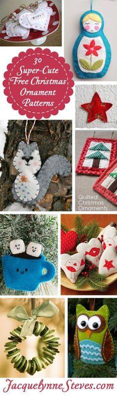 30 Super-Cute Free Christmas Ornament Patterns - Jacquelynne Steves