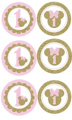 Para Los Vasos Mini Mouse 1st Birthday, 1st Birthday Cake Topper, Baby Girl 1st Birthday, Girl Birthday Themes, Minnie Mouse Party Decorations, Minnie Mouse Theme Party, Minnie Mouse Birthday Invitations, Minnie Mouse Stickers, Minnie Mouse Pink