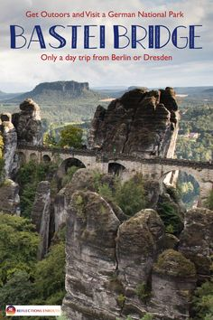 Go hiking in this beautiful place! The Bastei Bridge and its surrounding national park. Places Around The World, Oh The Places You'll Go, Places To Visit, Around The Worlds, Mykonos, Santorini, Belleza Natural, Germany Travel, Day Trip
