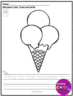 no prep summer coloring with trace and write sentences - Simple Pictures To Trace