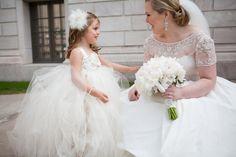 ivory tulle rosette embellished flower girl dress