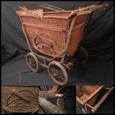 Stroller KC236 アンティークレトロ 乳母車籐製鳥柄 レア逸品 インテリア 雑貨 家具 Antique ¥15000yen 〆06月21日