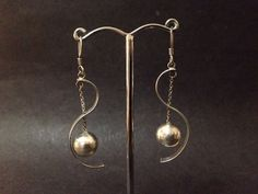 Pre Owned Sterling Silver Earrings - Modern Swirl Ball Style - Stamped 925