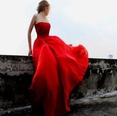 gone with the wind in a red dress
