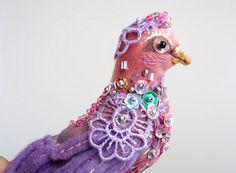 "Brooch ""Purple bird"""