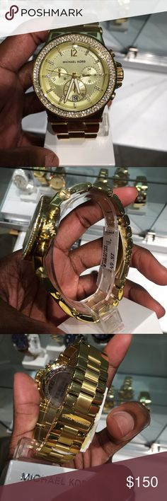 Michael Kors Watch Swarovski crystals throughout the face. Gold tone stainless steel. NWT. Retail price $249.97. Water resistant up to 100 feet. Michael Kors Jewelry