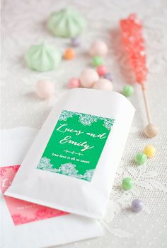 love, love, love! Party favor of candy like rock candy, gum, macarons, etc.