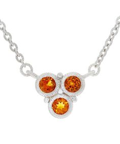 This Citrine & Sterling Silver Triple-Stone Pendant Necklace is perfect! #zulilyfinds