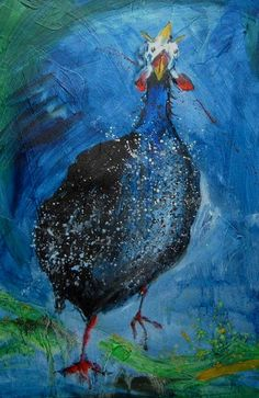 One of my French hen (pintade/guinea fowl) paintings