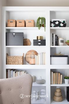 Oct 2019 - Who doesn't love a good Add a few file and document boxes to your shelf to expand your storage space. It looks classy, but it won't lack in the organizational department either! Bookshelf Organization, Office Organization At Work, Bookshelf Styling, Office Storage Ideas, Organizing Bookshelves, Organized Office, Office Ideas, Home Office Shelves, Shelves In Bedroom