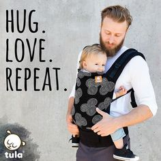 Let your love grow and grow in a modern print that is joining our Tula Baby Carrier line up! Meet 'Concentric'; our classic addition to the variety of stylish prints we offer! 'Concentric' has a repeated dash design, in elegant black and white, that looks like embroidered patterns with black canvas. This babywearing dad looks great in this black and white baby carrier.